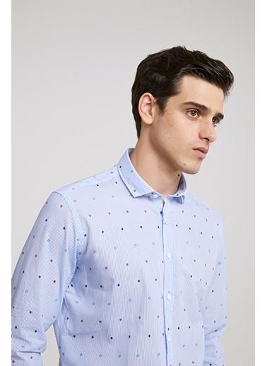TWN Slim Fit Desenli Gömlek Mavi